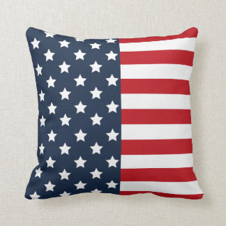 Patriotic American Flag, Red White Blue USA Pillow