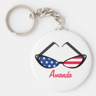 Patriotic American Flag Retro Cat Eye Sunglasses Basic Round Button Keychain