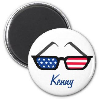 Patriotic American Flag Retro Sunglasses 2 Inch Round Magnet