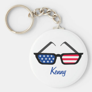 Patriotic American Flag Retro Sunglasses Keychain