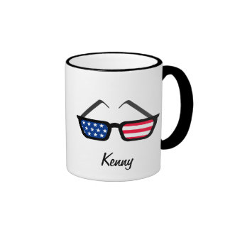 Patriotic American Flag Retro Sunglasses Ringer Coffee Mug
