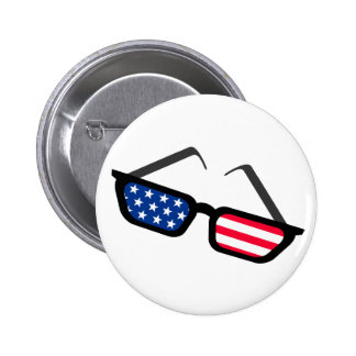 Patriotic American Flag Retro Sunglasses Pinback Button