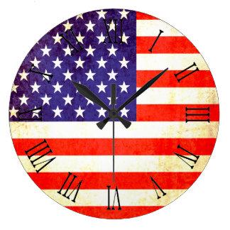Patriotic American flag roman numerals wall clock