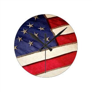 Patriotic American Flag Round Clock