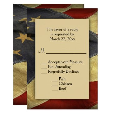 USA Themed Patriotic American Flag RSVP with Menu Choices Card