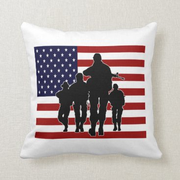 Patriotic American Flag Soldiers Silhouette Throw Pillow