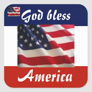 Patriotic American Flag Square Sticker
