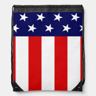Patriotic American flag Stars and Stripes Drawstring Backpack