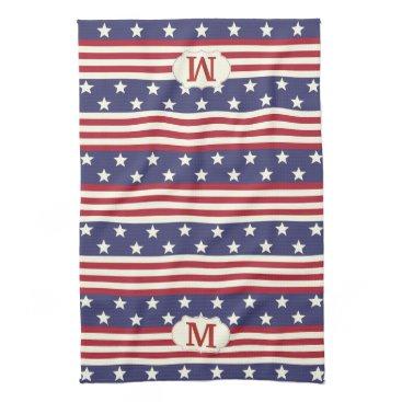 USA Themed Patriotic American Flag Stars and Stripes Monogram Towel