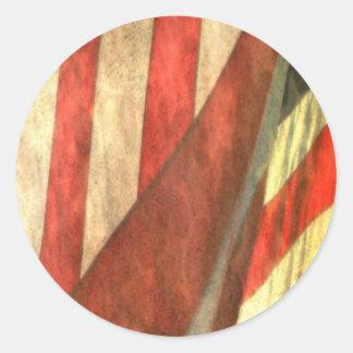Patriotic American Flag Round Sticker