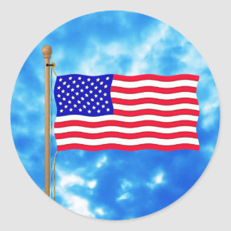 Patriotic American Flag T-Shirts and Gifts Classic Round Sticker