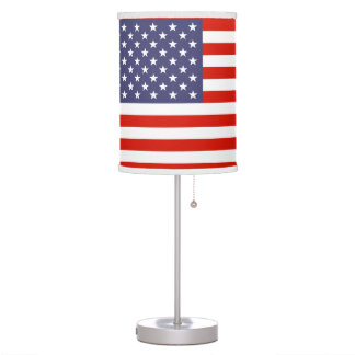 Patriotic American flag table and hang lamps