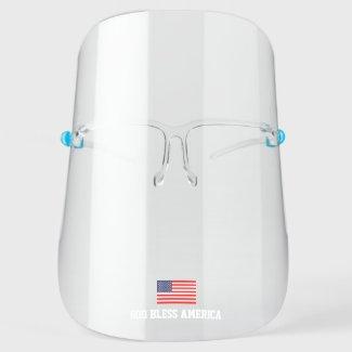 Patriotic American Flag Transparent Face Shield