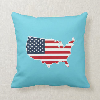 Patriotic American Flag United States Map Pillow