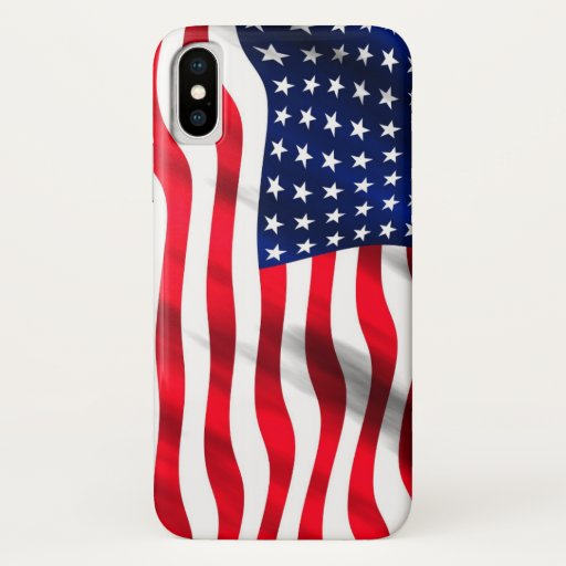 Patriotic American Flag US Blue White Red Stripes iPhone X Case
