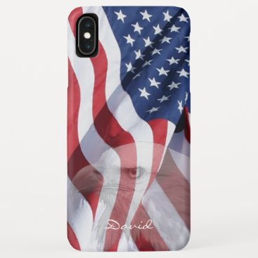 Patriotic American Flag USA Military Eagle Name iPhone XS Max Case