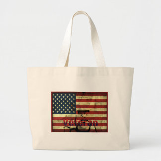 Patriotic American Flag Veteran Canvas Tote Jumbo Tote Bag