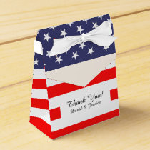 Patriotic American flag wedding party favor box