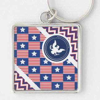 Patriotic American Flag with Eagle Key Chain