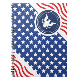 Patriotic American Flag with Eagle Spiral Notebook
