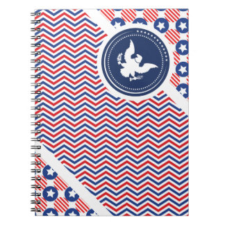 Patriotic American Flag with Eagle Spiral Notebooks