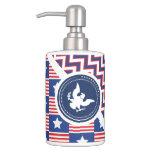 Patriotic American Flag with Eagle Bath Accessory Sets