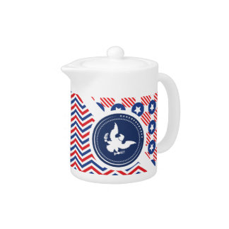 Patriotic American Flag with Eagle Teapot