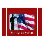 Patriotic American Flag with Veteran Soldier Custom Announcement
