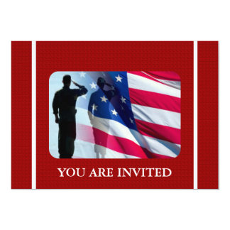 Patriotic American Flag with Veteran Soldier 5x7 Paper Invitation Card