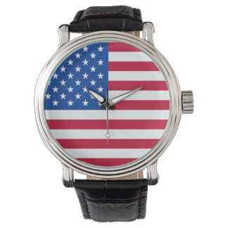 Patriotic American Flag Wristwatch