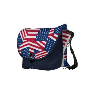 Patriotic American Flags Handbag or Messenger Bag