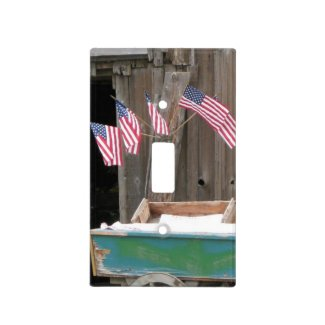 Patriotic American Flags - Old Barn Light Switch
