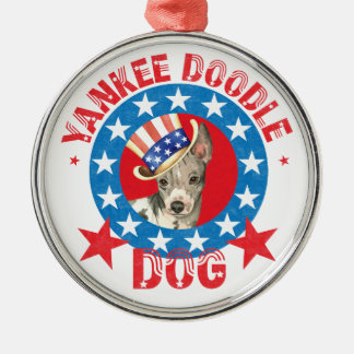 Patriotic American Hairless Terrier Metal Ornament