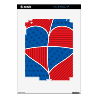 Patriotic American hearts Decals For The iPad 2