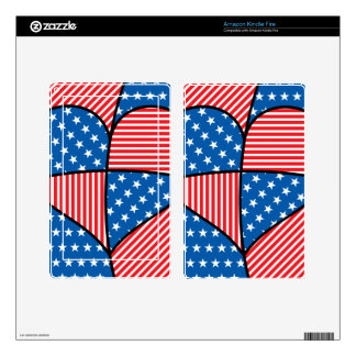 Patriotic American hearts Kindle Fire Decal