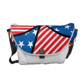Patriotic American hearts Messenger Bag