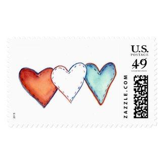 Patriotic American Hearts Postage Stamp