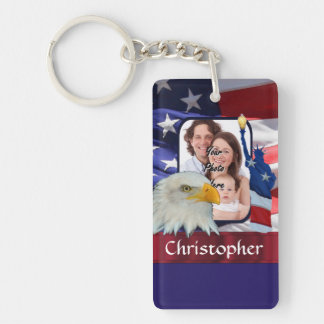 Patriotic American Icon photo template Keychain