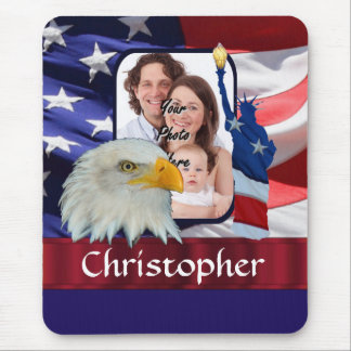 Patriotic American Icon photo template Mouse Pad