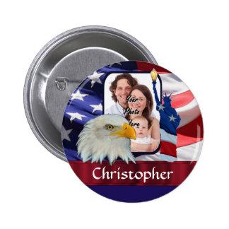 Patriotic American Icon photo template Pinback Button