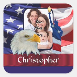 Patriotic American Icon photo template Square Sticker