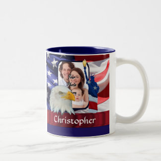 Patriotic American Icon photo template Two-Tone Coffee Mug