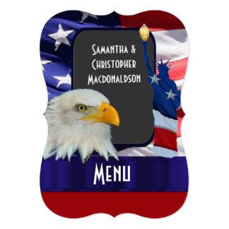 Patriotic American icon wedding menu Card