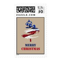 Patriotic American Merry Christmas Tree U.S. Flag Postage