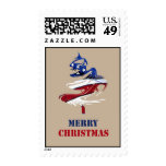 Patriotic American Merry Christmas Tree U.S. Flag Postage Stamp