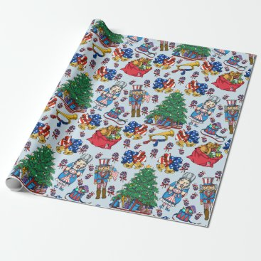 Patriotic American Nutcracker Blue Pattern Wrapping Paper