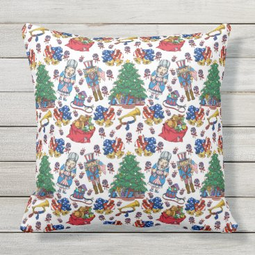 Patriotic American Nutcracker Pattern Outdoor Pillow