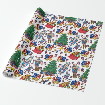 Patriotic American Nutcracker Pattern Wrapping Paper
