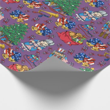 Patriotic American Nutcracker Purple Pattern Wrapping Paper