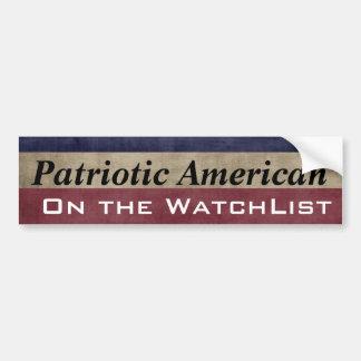 Patriotic American On the WatchList Customizable Bumper Sticker